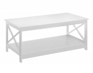 Basic white coffee table with an open shelf storage area