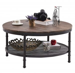 Dark coffee table with a black metal frame and storage shelf