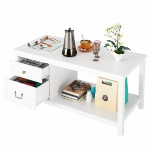 White coffee table with drawers and an open shelf area