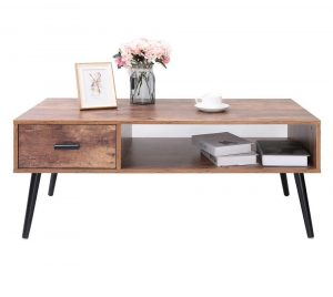 Chique mid-century coffee table with a drawer and a storage shelf