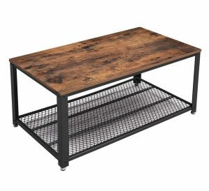 Wooden industrial styled coffee table with a black metal grid storage shelf