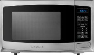 Insignia NS-MW09SS8 black and gray mini microwave oven