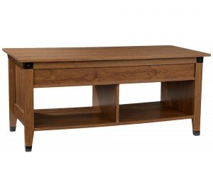 Lift-top wooden coffee table with a hidden storage compartment