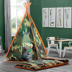 Camo teepee tent and sleeping bag for kids
