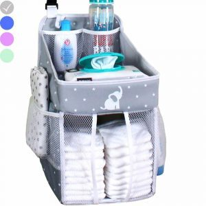 Cradle Star hanging diaper caddy with room for diapers and care products, with an elephant motif at front