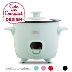 Small and compact rice cooker in a blue color
