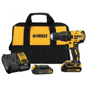 Dewalt DCD777C2 cordless drill driver bundle with a bag