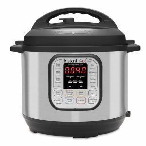 Instant Pot DUO60 7-in-1 rice cooker with a black lid