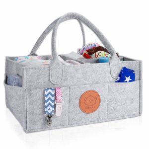 Changing table organizer bag in a grey fabric with handles