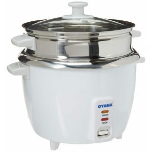 OYAMA CNS A15U rice cooker with stainless steel inner pot, white finish and a steamer pot included