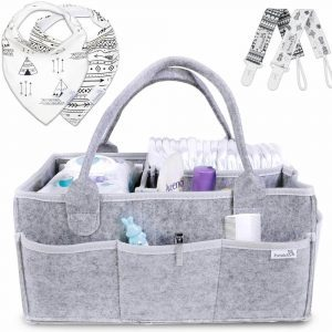 Changing table storage organizer bundle with side pockets and carry handles