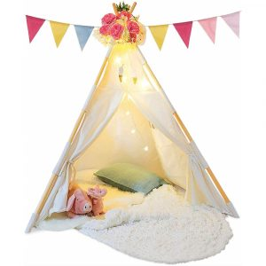 TazzToys Kids Teepee Tent with flags and fairy lights