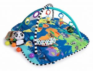 Blue and green baby play mat with 5 different toys