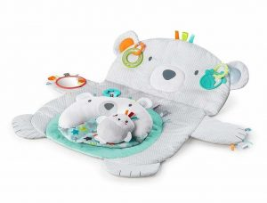 Grey and blue baby play mat shaped like a teddy bear