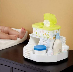 White rotating storage organizer for changing tables