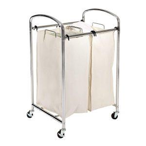 Seville Classics Mobile 2-Bag Laundry Hamper