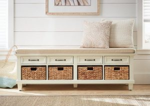 Chique white shoe storage bench with a cushioned seat
