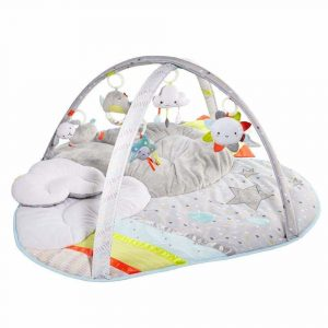 White and grey baby play mat shaped like a cloud with toys hanging from above