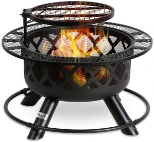 Bali Outdoors 32-Inch black wood burning fire pit