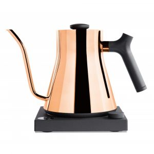 Fellow Stack EKG electric kettle in a copper finish with a black square base