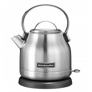 KitchenAid stainless steel electric kettle with a large handle on a black round base