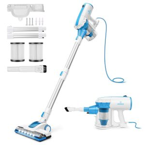 MOOSOO D601 stick vacuum with a blue cord