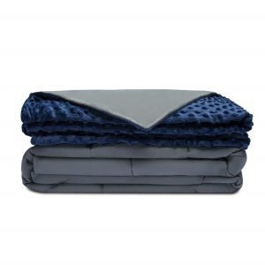 Quility Premium weighted blanket with a dark blue removable cover