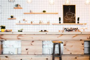 Floating wooden shelves in a kitchen area