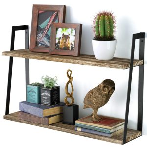2-tier wooden floating shelves