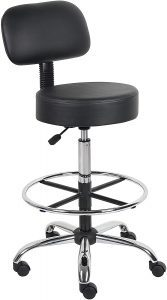 Stylish Black Boss Office B16245-BK Be Well Bar Stool With Back, Wheels, and Chrome Base