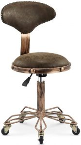 LoveGlass Vintage Coffee Colored PU Leather Bar Stool With Back and Wheels