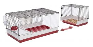 Large rabbit cage with a plastic bottom and metal wire top