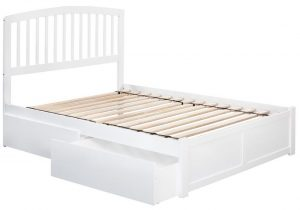 White Platform Bed With Storage and Arched Slat Headboard