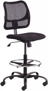 Black Safco Products 3395BL Ergonomic Bar Stool With Mesh Back and WHeels
