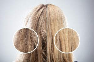 Split view on blond damaged hair vs. blond healthy hair