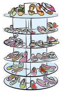Round shoe storage carousel