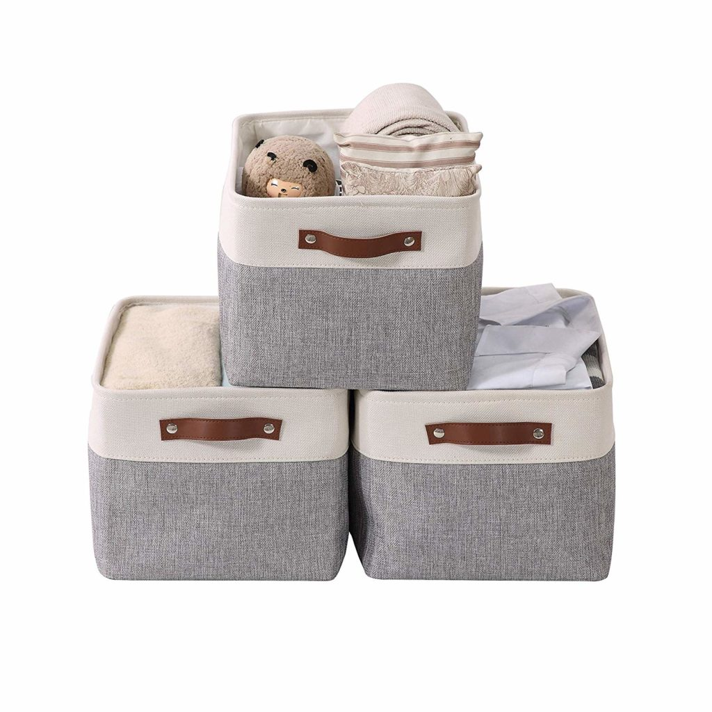 Storage boxes made of white and gray fabric