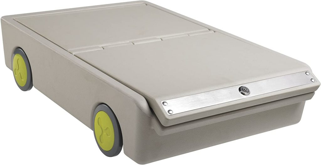 Lockable under-bed storage drawer
