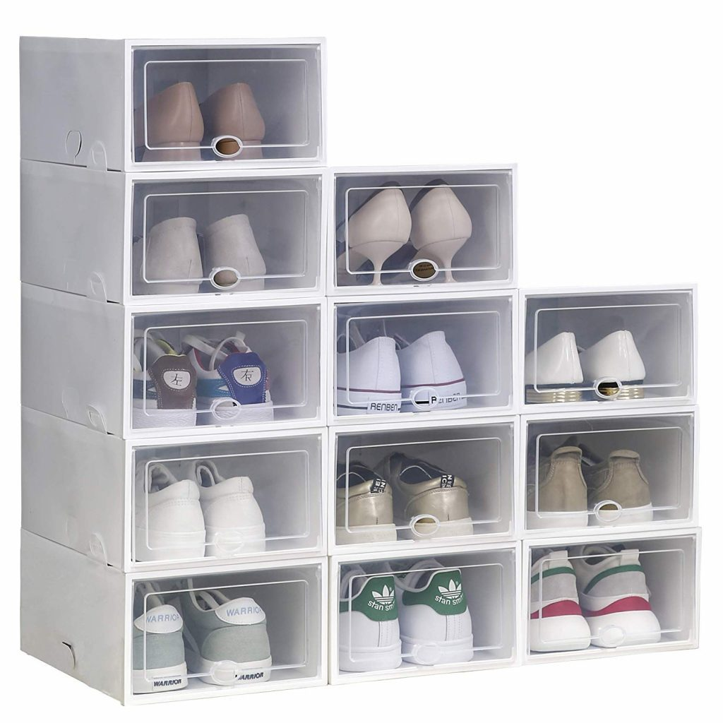 White plastic shoe storage boxes