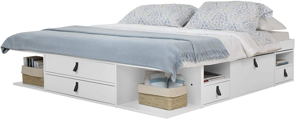 White platform bed with drawers and storage shelves