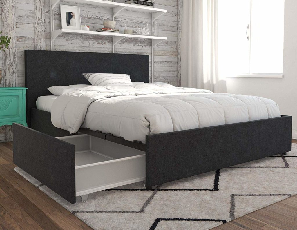Black platform bed frame with large storage drawers