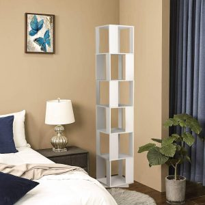 Rotating bookshelf in bedroom