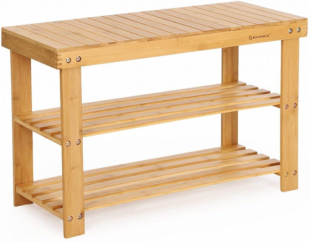 SONGMICS wooden storage bench