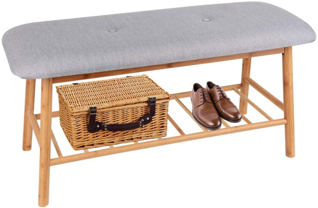 Zei Bamboo wooden storage bench with a cushioned seat