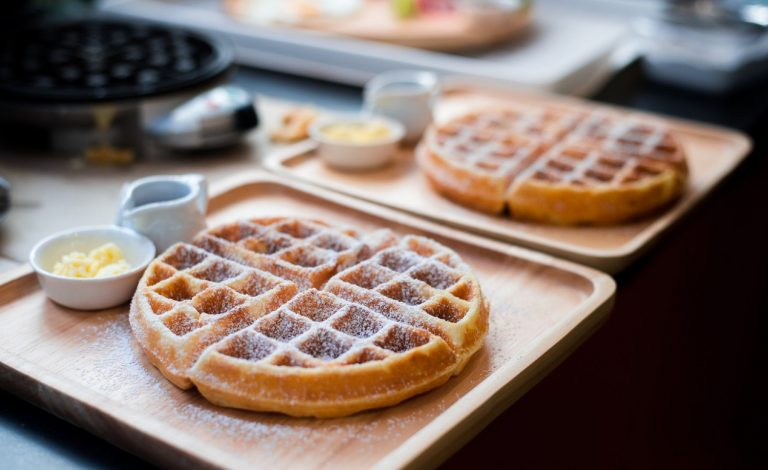 Ready made waffles served with syrup and butter