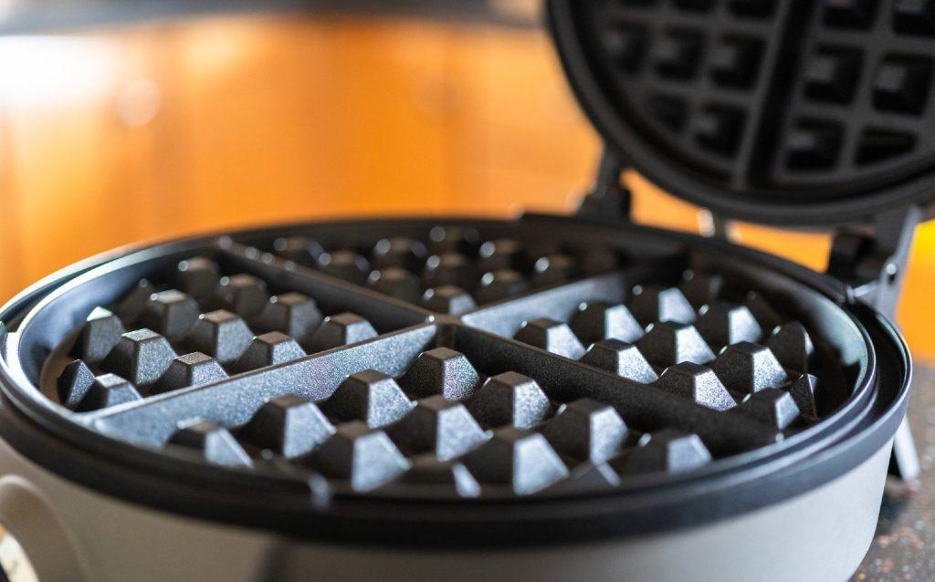 Close-up photo of waffle maker plates