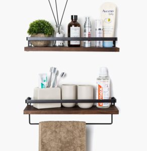 Wall-mounted wood and metal shelves