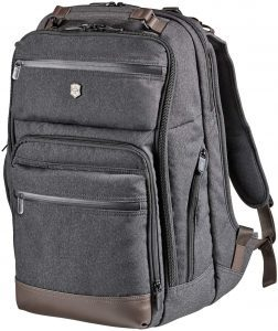 Victorinox Architecture Urban Rath Laptop Backpack, Grey/Brown with genuine leather details