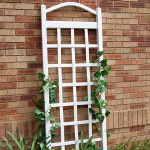 White wooden trellis for plants