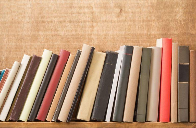 Books on a storage shelf